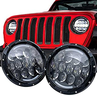 105W Brightest OSRAM 7'' Inch Round Black Led Headlights with White/amber Turn Signal DRL for Jeep Wrangler JK/TJ and Hummer with H4&H13 Adapter(Black Pair)