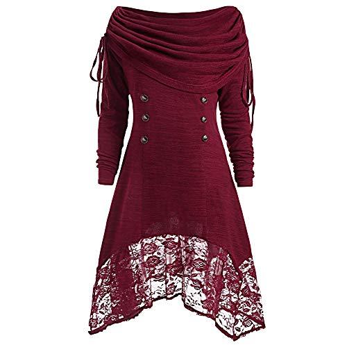 KPILP Frauen Solide Übergröße Geraffte Abendkleider Foldover Kragen Elegante Spitze Knöpfe Patchwork Minikleid Mode Bluse Tops(Wein,EU-52/CN-4XL)
