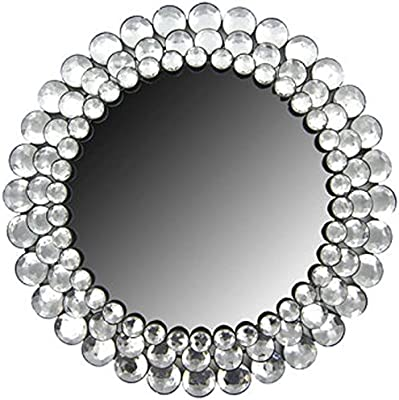 Round Crystal Gemstone Accented Mirror