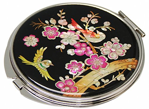 Mother of Pearl Pink Korean Plum Flower Tree and Bird Design Double Compact Magnifying Purse Mirror by Antique Alive