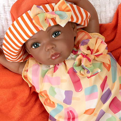 Paradise Galleries Black Reborn Doll, 16 inch African American Baby Girl, Creamsicle Cutie, Made in GentleTouch Vinyl & Weighted Body, 7-Piece Gift Set