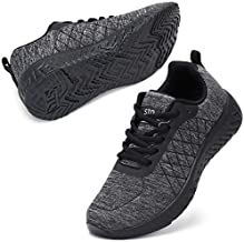 STQ Walking Shoes for Women Lace Up Lightweight Comfortable Workout Sneakers Dark Grey/Black US 7