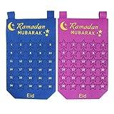 Amosfun 2 Pcs Ramadan Calendrier Compte à Rebours Calendrier de L'avent Compte à Rebours Calendrier Décoration Murale pour La Décoration de Bureau à Domicile (Violet Bleu)
