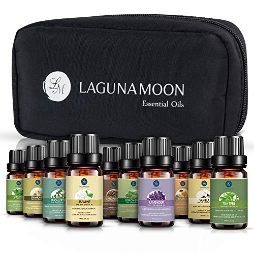Lagunamoon Essential Oils with Travel Bag, Top 10 Pure Aromatherapy Oils Tea Tree Lavender Peppermint Eucalyptus Sandalwood Lemongrass Orange Chamomile Jasmine Vetiver
