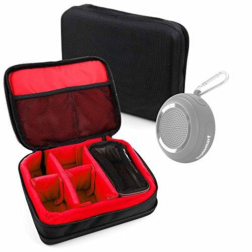 DURAGADGET Bolsa Acolchada Profesional Negra con Compartimentos e Interior en Rojo para Apple Beats Pill, Tronsmart Mega, Tronsmart Splash