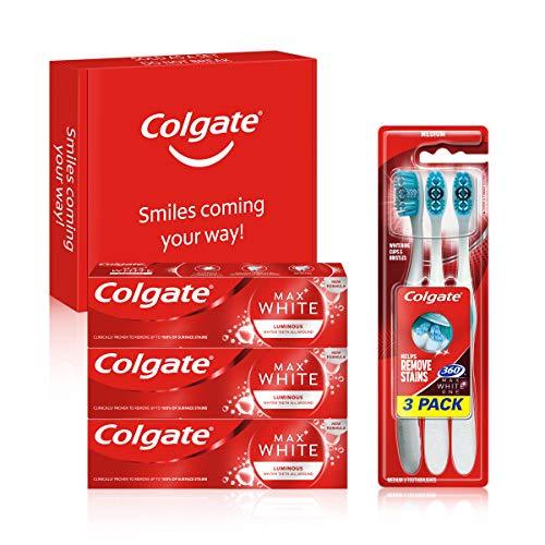 Colgate Zahnweiß-Set mit Colgate Max White Luminous Whitening Zahnpasta 3 x 75 ml und Colgate 360° Max White One 3er Pack Whitening Zahnbürste