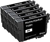 Metro Market 5 Negro Reemplazo para Epson T1291-T1294 (T1295) Cartuchos de tinta Compatible para Epson Stylus SX235W SX230 SX430W SX420W SX440W SX525WD Epson Workforce WF-3520