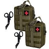 Krisvie 2Pcs Médica Bolsa Primeros Auxilios Bolsa Táctica Compacta Botiquín y el Esquileo de Los Primeros Auxilios (Verde Oscuro)