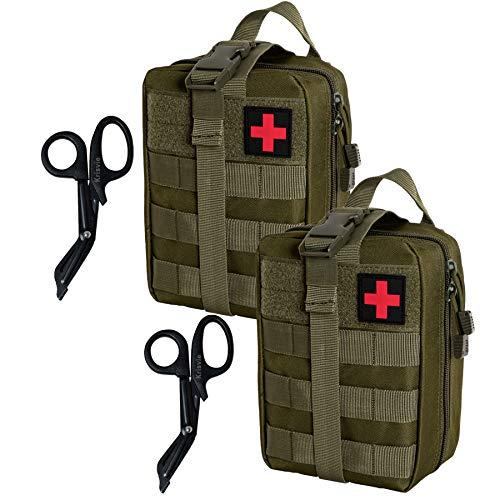 Krisvie 2PCS EMT Borsa di Primo Soccorso Medico di Sopravvivenza Sacchetto di Emergenza Tattica, Tattico Molle Marsupio+Acciaio Inossidabile Benda Forbici Heavy Duty Set (Verde)