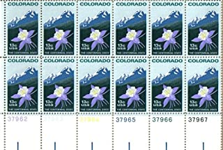 1977 COLORADO - COLUMBINE & ROCKY MOUNTAINS #1711 Plate Block of 12 x 13 cents US Postage Stamps