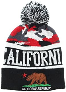California Republic Stripe Beanie Pom Hat Cap Camo Pattern with Cuff Various Color