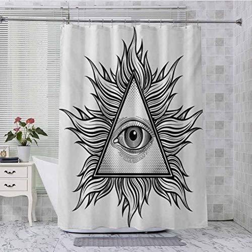Aishare Store - Juego de cortinas de ducha con forma de triángulo con figuras onduladas y estilo espiritual masónico, 72 x 213 cm, cortina de baño para baño, color negro y blanco