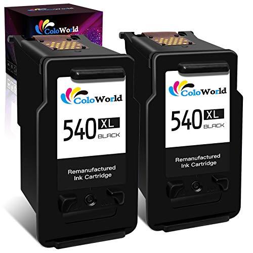ColoWorld Cartuchos remanufacturados 540 540XL de repuesto para Canon PG-540XL para Canon Pixma TS5150/5151 MG4250 MG3650 MX475 MX535 MG4200 MG3550 MX395 MG3600 MX375 (2 )