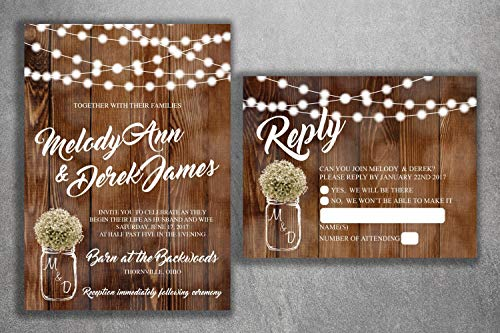 Country Wedding Invitations Set Printed, Rustic Wedding Invitation, Burlap, Kraft, Wood, Lights, Outside, Southern, Mason Jar, Barn