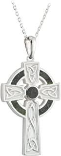 celtic cross necklace with connemara marble