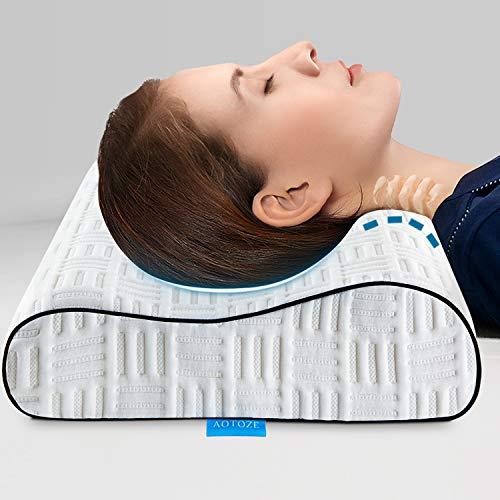 AOTOZE Kissen Orthopädische Nackenkissen aus viscoelastischem Memory-Schaum | Ergonomisches Kopfkissen zur Halsstützende 60x40cm