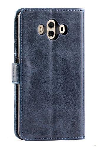 Mulbess Handyhülle für Huawei Mate 10 Hülle, Leder Flip Case Schutzhülle für Huawei Mate 10 Tasche, Dunkel Blau - 3