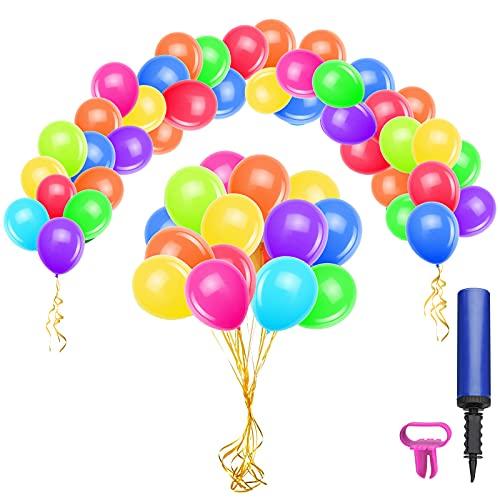 Globos de Cumpleaños, 100 Piezas Globos Colores de Látex con Inflador y Atador de Globos para Cumpleaños Fiestas Bodas Celebraciones - 30 cm  12 Pulgadas