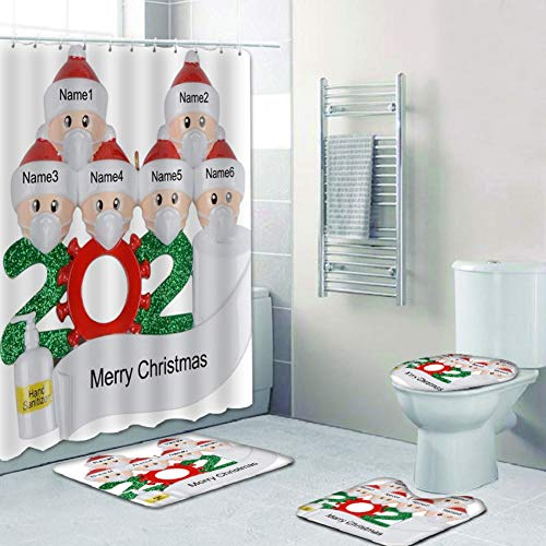 XIYAO 4 Piece Christmas Survivor 1-7 Family Members Shower Curtain Set with Non Slip Rugs, Toilet Lid Cover and Bath Mat Christmas Bathroom Decoration