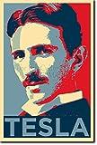 Póster Retrato del Científico Nikola Tesla. Diseño Hope de Obama