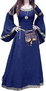 Medieval Costume Horn-Sleeve Halloween Elven Maxi Party Dress