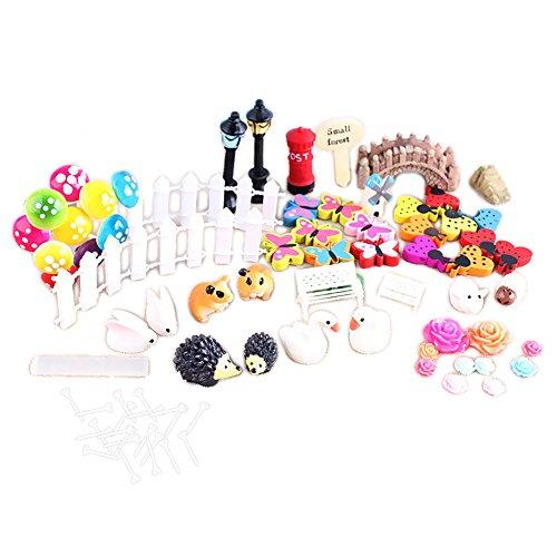 58 PCs miniature ornement Kit pour bricolage fée jardin maison de poupée décoration