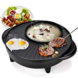 Electric Hot Pot, 2 In 1 Indoor Korean BBQ Grill Shabu Shabu Pot with Divider Smokeless Grill Pan, 1500W Adjustable Thermostat, Stovetop Nonstick Pan Tabletop Grill