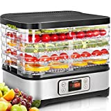 Food Dehydrator Machine for Jerky/Meat/Fruits with Timer, Five Trays, LCD Display Screen/BPA Free/250Watt (dehydrator with timer)