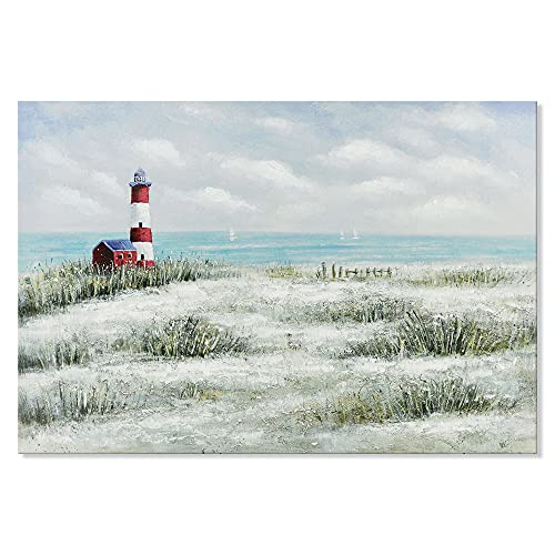 Seashore Lighthouse and Grasses Canvas Wall Art Beach themed Decor Ocean Scenery Painting Picture For Home Living Room Easy to Hang 36x24 inch