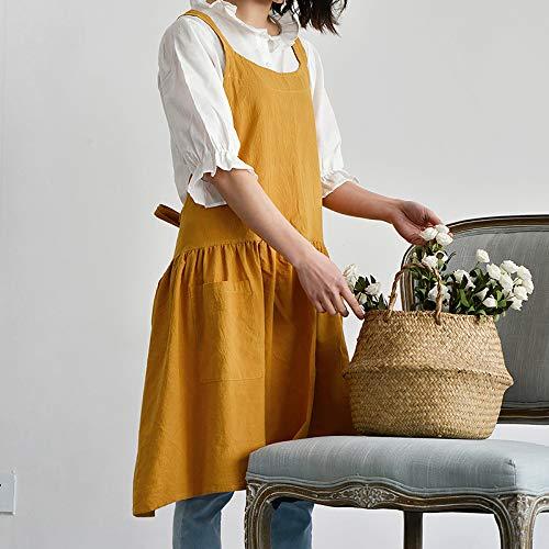 YXDZ College Wind Baumwolle Mode Schürze Weibliche Hause Küche Milch Tee Shop Barista Arbeitskleidung Gelb 78 * 82 cm