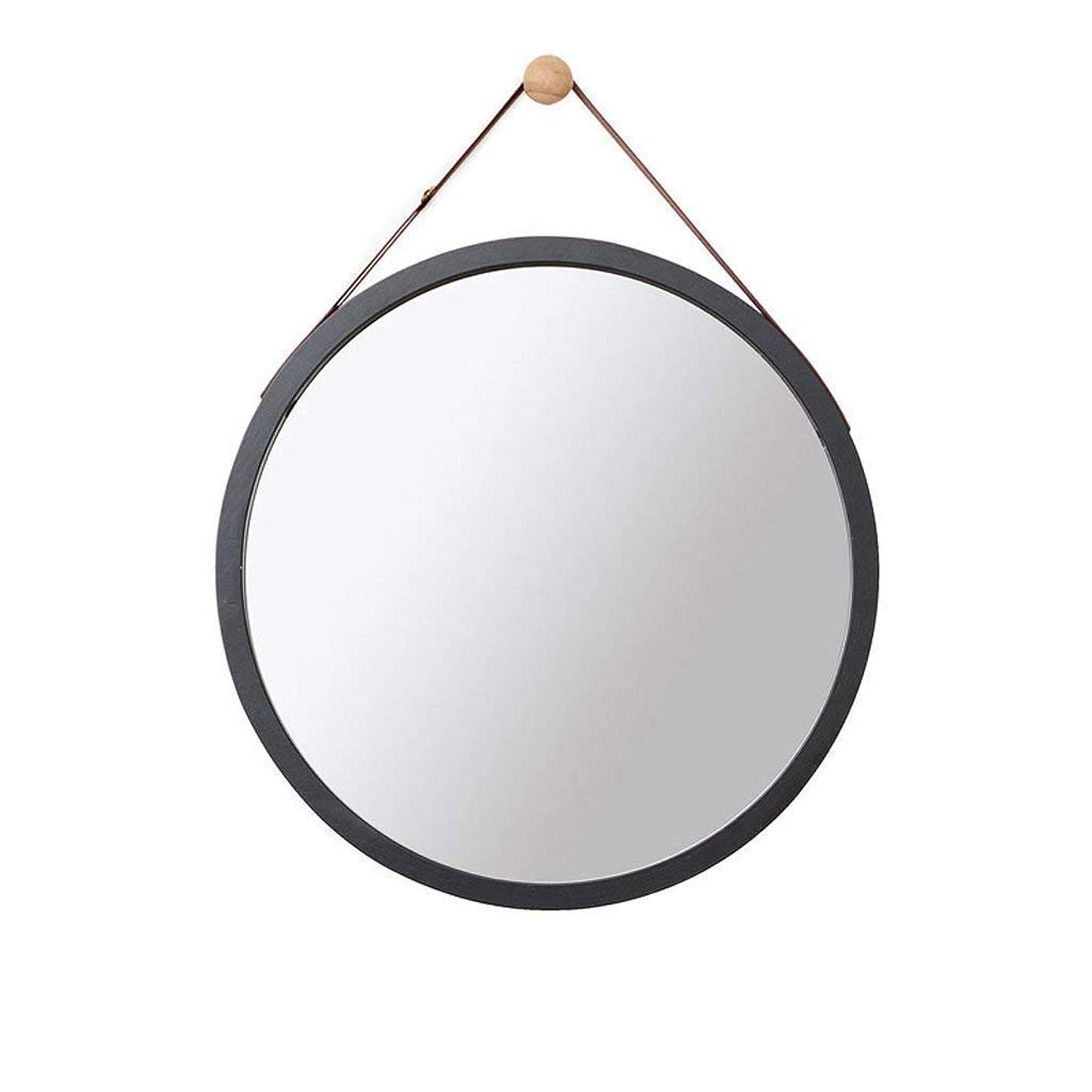 オフセット比類なき高度なSelm 壁掛けミラー、壁掛けミラー、化粧鏡、バスルーム装飾、吊り鏡 (Color : Black, Size : 45CM)