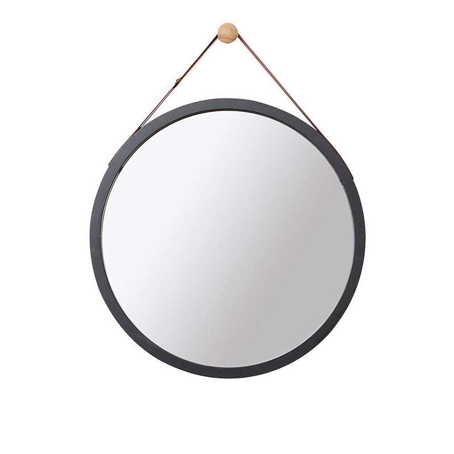 磁器シガレット九Selm 壁掛けミラー、壁掛けミラー、化粧鏡、バスルーム装飾、吊り鏡 (Color : Black, Size : 45CM)