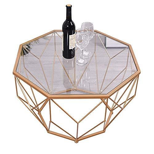 Petite Table Basse en Fer/Table d'appoint Minimaliste Moderne, Petit Appartement Rond côté canapé en Verre trempé Simple, Couleur Transparente (56 × 56 × 40 cm, 76 × 76 × 45 cm)