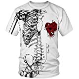 Amade メンズ Tシャツ 丸首半袖 創意デザイン オリジナル 髑髏 心臓 タバコ禁止 個性 原宿系 父の日 カットソーJP069-B03-2L