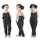 Toddler Little Girls One-Pieces Floral Corset Romper Jumpsuit Harem Pants Overalls (Black 1, 6T)