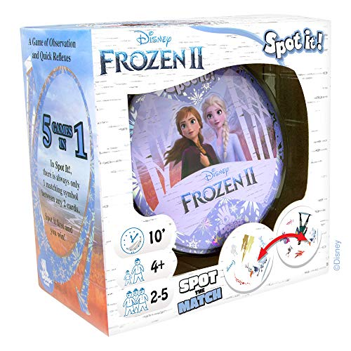 Spot It Disney Frozen II Card Game | Game For Kids | Preschool Age 4 | 2 to 5 Players | Average Gameplay 10 minutes | Made by Zygomatic
