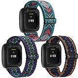 Amzpas 3 Pack Adjustable Elastic Watch Bands Compatible with Fitbit Versa 2/Versa/Versa Lite Special Edition Soft Stretchy Loop Bracelet Women Men (Green Arrow, Boho Green, Boho Purple)