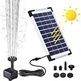 Solar Fountain Pump, Solar Water Pump Floating Fountain, with 6 Nozzles 7V/5W, for Bird Bath, Fish Tank, Pond or Garden Decoration