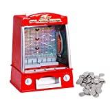 Costzon New Coin Pusher Machine Mini Penny Pusher Coin Pusher Fairground Arcade Amusements Game Replica for Famile Children Red