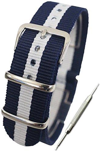 『【ネイビー×ホワイト 16mm】NATOタイプ ナイロン ベルト ストラップ 腕時計 11Straps【バネ棒外しセット】』の1枚目の画像