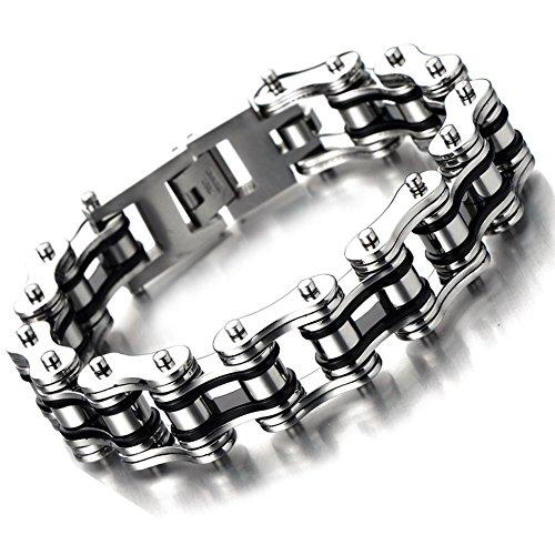 Silking Jewelry Heavy Metal Stainless Steel Men's Motorcycle Bike Chain Bracelet Silver Bangle 16mm 8.85inch