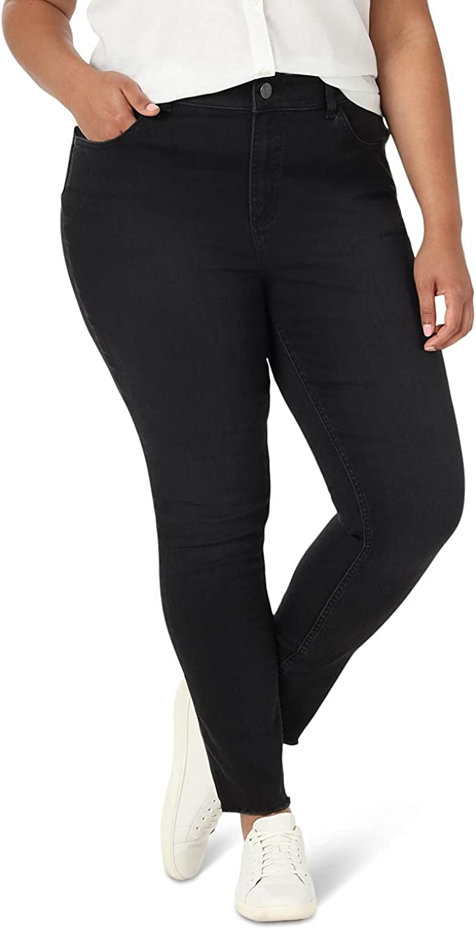 Lee Women's Plus Size Slim Fit High Rise Skinny Frayed Jean