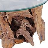 Festnight Couchtisch Kaffeetisch Coffeetisch mit Tischfuss aus Massives Teak-Treibholz Ideal als Beistelltisch Glas Tischplatte Durchmesser 60cm - 5