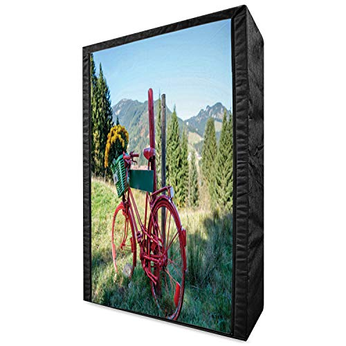 Ambesonne Bicycle Portable Fabric Wardrobe, Mountain Landscape Illustration of Old Bike with Wild Yellow Flowers in The Basket, Clothing Organizer and Storage Closet with Shelves, 42.5', Multicolor