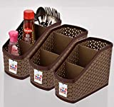 Fun Homes 3 Piece Plastic Compact Storage Basket (Multi)