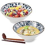 Ceramic Large Ramen Bowls Set, Porcelain Multi Purpose Bowl for Soup, Noodle, Pho, Udon and Soba with Matching Spoons and Chopsticks, DeeCoo 2 Sets (6 Pieces) 40oz Noodle Bowl