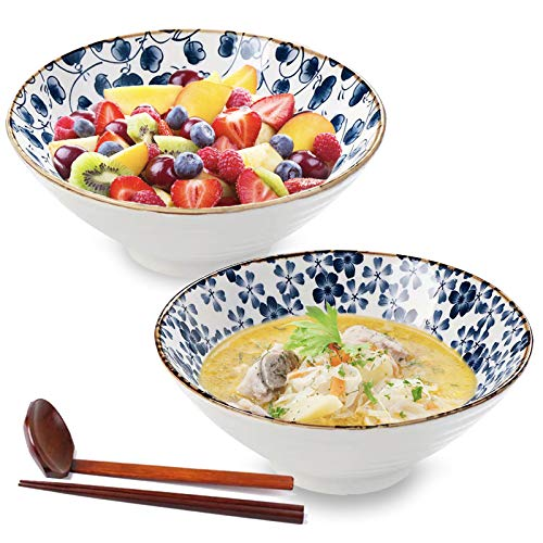 Ceramic Large Ramen Bowls Set, Porcelain Multi Purpose Bowl for Soup, Noodle, Pho, Udon and Soba with Matching Spoons and Chopsticks, DeeCoo 2 Sets (6 Pieces) 40oz Noodle Bowl