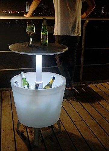 Koll-Living Kühlbox & Bistrotisch mit integriertem LED-Licht, Stehtisch mit Eisbehälter, höhenverstellbar bis 85 cm mit einfachem Teleskopmechanismus - 3