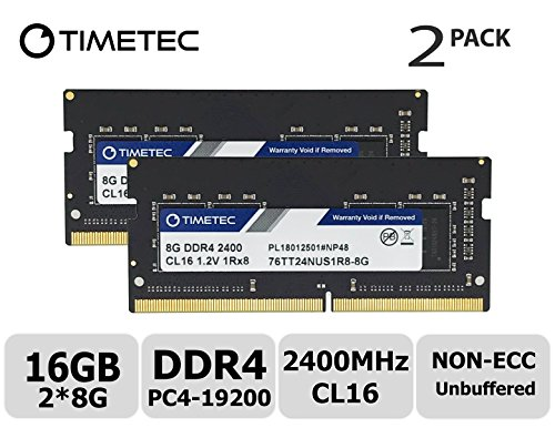 Timetec Hynix IC DDR4 2400MHz PC4-19200 Non ECC Unbuffered 1.2V CL17 2Rx8 Dual Rank 260 Pin SODIMM Laptop Notebook Computer Memory Ram Module Upgrade (16GB(2x8GB))