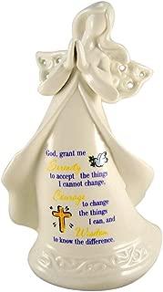 Christian Brands Catholic Praying Guardian Angel Figurine 6 1/2 Inch Porcelain Statue with Serenity Prayer